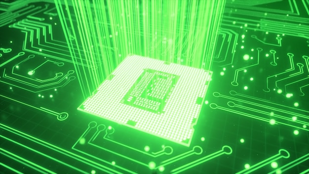 Sfondo di tecnologia della cpu. trasmissione dati, industria futuristica.