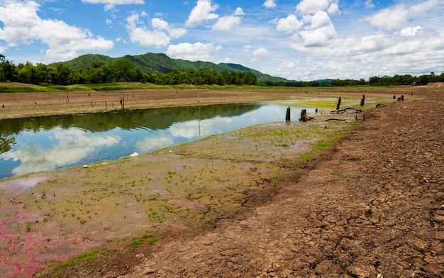 Terra asciutta incrinata senza acqua.