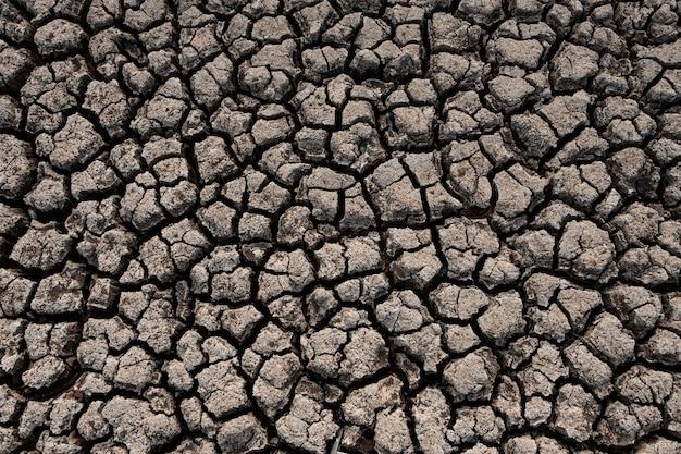 Terreno screpolato e secco nelle aree aride del paesaggio crisi di siccità in thailandia