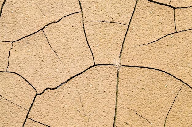 Suolo incrinato durante una siccità e mancanza di pioggia sul territorio di un campo agricolo