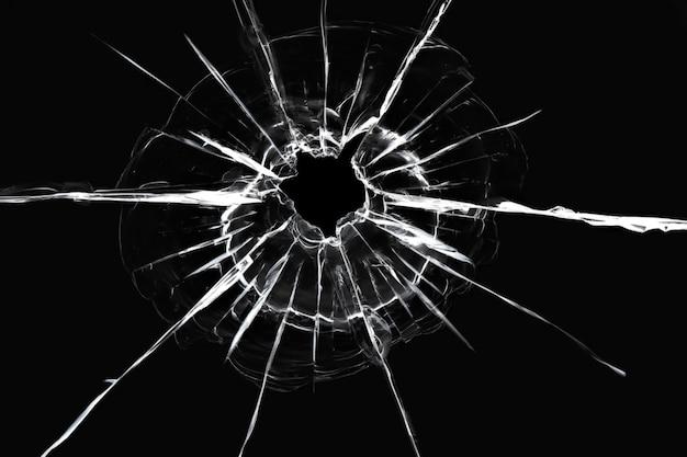 Crepe nella finestra da uno sparo di un'arma