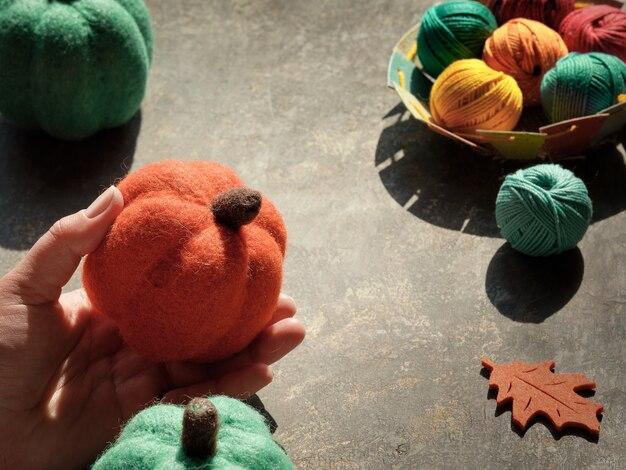 Materiali artigianali per maglieria e zucca