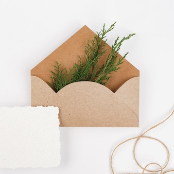 Busta in carta artigianale con rami di abete e carta bianca
