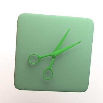 Icona di artigianato con le forbici isolato su priorità bassa bianca. app. illustrazione 3d.