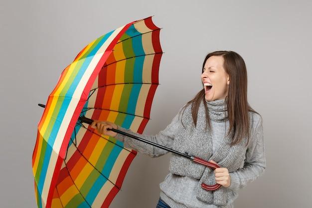 Giovane donna pazza in maglione grigio, sciarpa che urla, con ombrello colorato isolato su sfondo grigio. stile di vita sano, persone sincere emozioni, concetto di stagione fredda. mock up copia spazio.