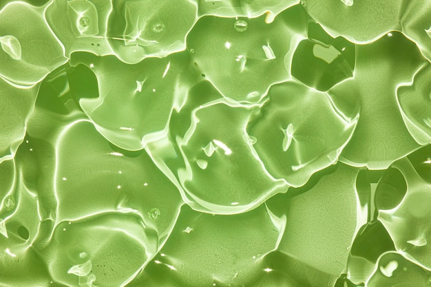 Crema gel verde blu trasparente cosmetico texture campione con bolle isolate su sfondo bianco
