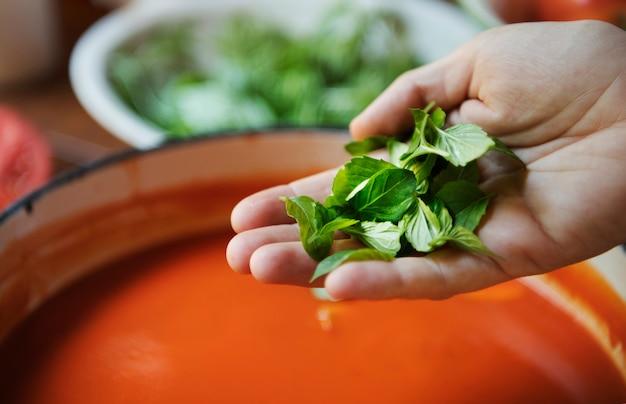 Idea di ricetta di fotografia cremosa di salsa di pomodoro cibo