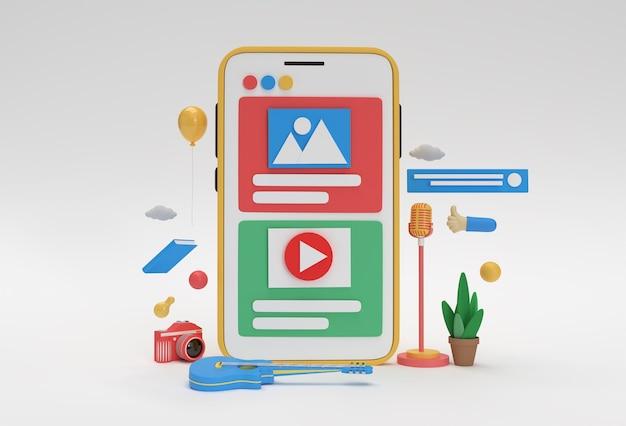 Rendering 3d creativo astronauta che vola con razzo e pulsante di riproduzione video per banner di sviluppo web, materiale di marketing, presentazione, pubblicità online.