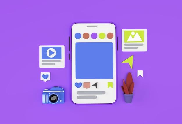 Creativo 3d render mobile mockup banner di sviluppo web per social media, materiale di marketing, presentazione, pubblicità online.