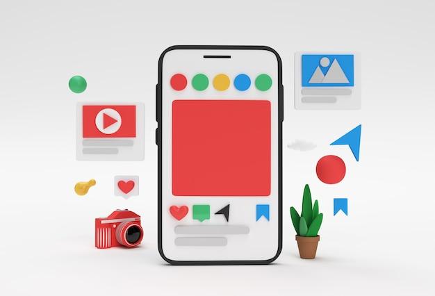 Creativo 3d render mobile mockup banner di sviluppo web di social media, materiale di marketing