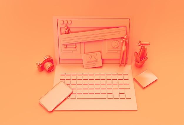 Mockup mobile di rendering 3d creativo con banner di sviluppo web per laptop, materiale di marketing, presentazione, pubblicità online.