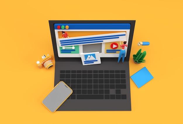 Mockup mobile di rendering 3d creativo con banner di sviluppo web per laptop, materiale di marketing