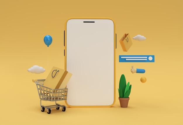 Creativo 3d render mobile online shopping mockup banner web, materiale di marketing, presentazione, pubblicità online.