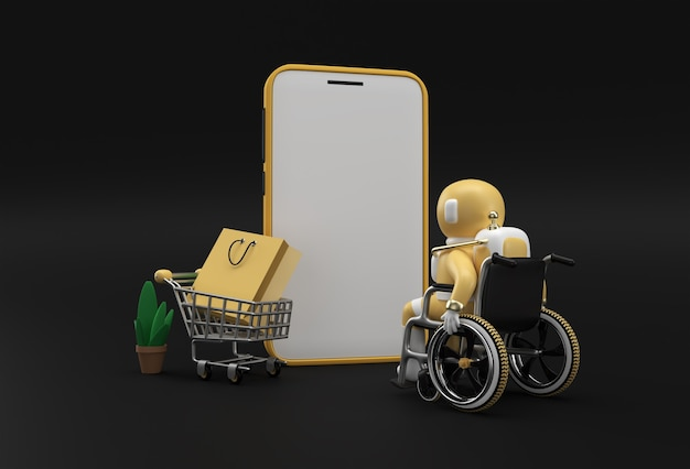 Creativo 3d render mobile shopping online mockup con astronauta in sedia a rotelle banner web, materiale di marketing, presentazione, pubblicità online.