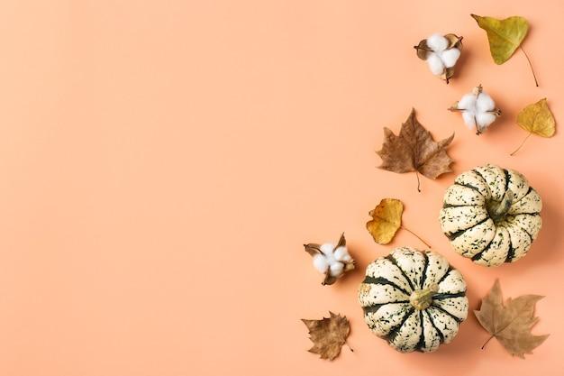 Composizione creativa del giorno del ringraziamento autunnale autunnale con zucche decorative e foglie secche. lay piatto, vista dall'alto, copia spazio, natura morta sfondo rosa corallo per biglietto di auguri