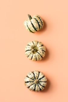Composizione creativa del giorno del ringraziamento autunnale autunnale con zucche decorative. lay piatto, vista dall'alto, copia spazio, natura morta sfondo rosa corallo per biglietto di auguri