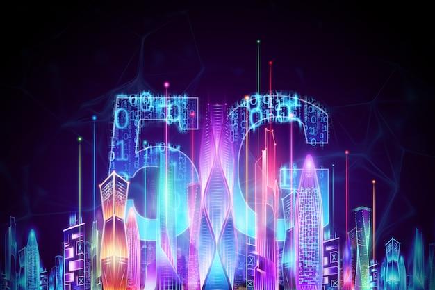Sfondo creativo, 5g smartphone e ologramma smart city, concetto di tecnologia di trasmissione di big data, rete 5g, internet mobile ad alta velocità. rendering 3d, illustrazione 3d.