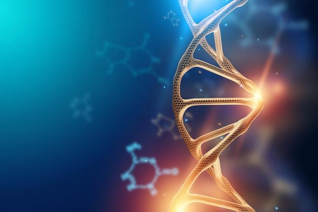 Sfondo creativo, struttura del dna, molecola di dna su sfondo blu, ultravioletto.