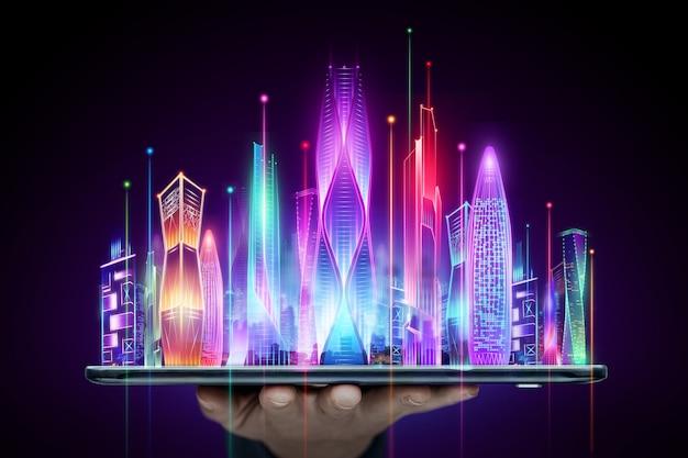 Sfondo creativo, mano che tiene tablet e ologramma smart city, grande concetto di tecnologia di trasmissione dati.