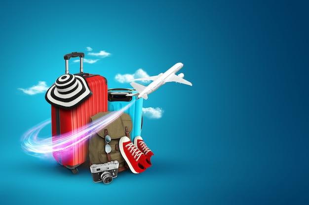 Sfondo creativo, valigia rossa, scarpe da ginnastica, aereo su sfondo blu.
