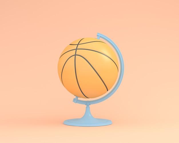 Creativo del globo di pallacanestro sfera il globo su sfondo di colore arancione. sport idea minima