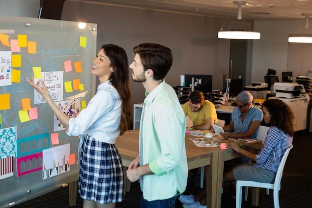 Gente di affari creativa guardando le note appiccicose sul bordo di vetro in ufficio