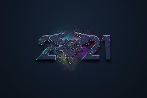 Sfondo di natale creativo, iscrizione 2021 e immagine di un toro su uno sfondo scuro.