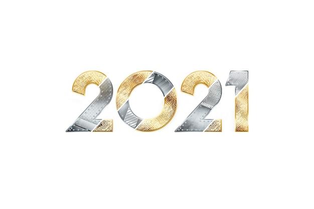 Sfondo di natale creativo, iscrizione 2021 con numeri in metallo su sfondo chiaro.