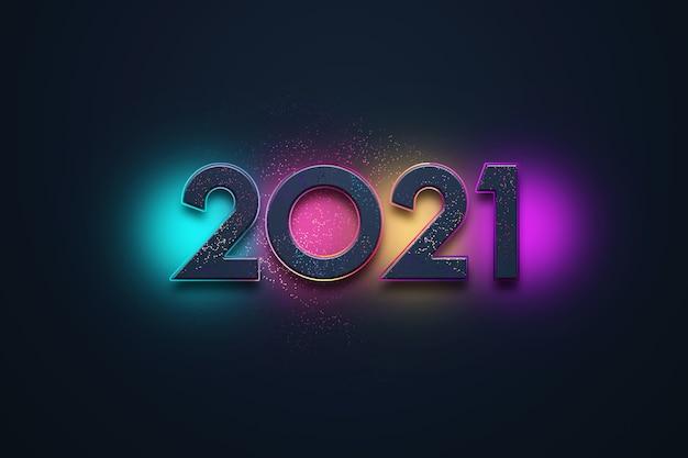 Sfondo di natale creativo, iscrizione multicolore 2021 su uno sfondo scuro.