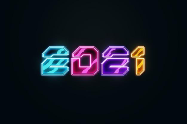 Sfondo di natale creativo, iscrizione al neon multicolore 2021 su sfondo scuro.