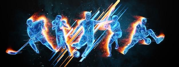Collage creativo di diversi atleti. il concetto di scommesse sportive, pubblicità, sport, stile di vita sano. calcio, basket, hockey, baseball, football americano. illustrazione 3d, rendering 3d.