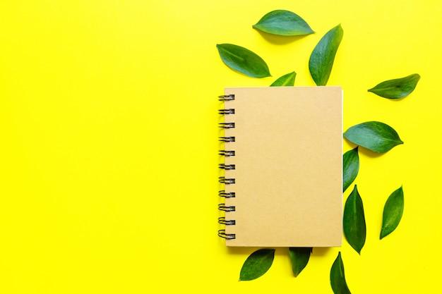 Composizione sopraelevata laica piana creativa con il blocco note in bianco e le belle foglie dell'eucalyptus su fondo giallo. modello di biglietto. salva il concetto del pianeta.