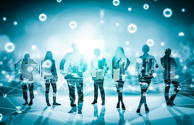 Immagine creativa di molte riunioni di gruppo conferenza persone d'affari