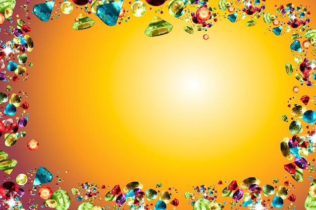 Layout creativo fatto di gemme colorate su sfondo giallo.