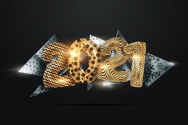 Lettering 2021 lusso creativo con palline dorate su sfondo scuro.