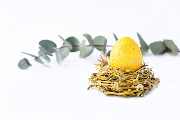 Foto creativa con uovo giallo di pasqua ed eucalipto