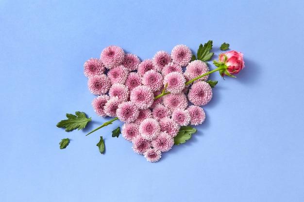 Cartolina postale creativa dal cuore di fiori di crisantemo resistente e rosa come una freccia su uno sfondo di colore serenità con spazio di copia carta di congratulazioni.