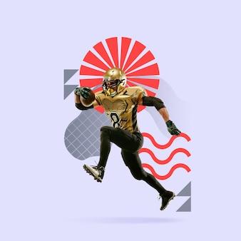 Sport creativo e stile geometrico. giocatore di football americano in azione, movimento su sfondo viola. copyspace per inserire il tuo testo o annuncio. design moderno. collage di arte contemporanea colorata e luminosa.