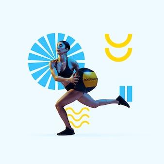 Sport creativo e stile geometrico fitness dell'atleta femminile in movimento d'azione su sfondo viola