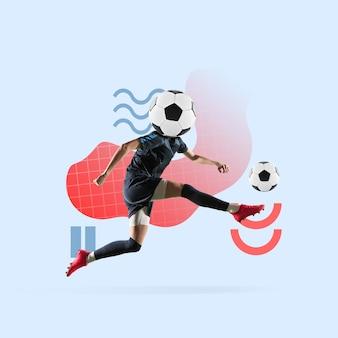 Sport creativo e stile geometrico calciatore di calcio in movimento d'azione sul blu