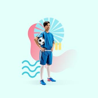 Sport creativo e stile geometrico calciatore di calcio in movimento d'azione sul verde