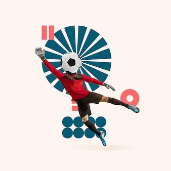 Sport creativo e stile geometrico calciatore di calcio in movimento d'azione su sfondo chiaro