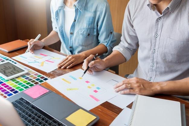 Riunione del lavoro di squadra del designer creativo dell'interfaccia utente che progetta progettazione dello sviluppo di applicazioni di layout wireframe