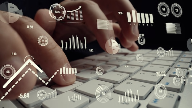 Visual creativa di big data aziendali e analisi finanziaria su computer