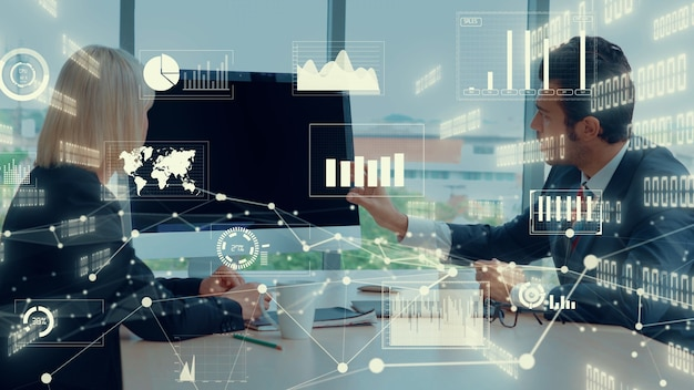 Visual creativa della tecnologia di analisi dei dati aziendali