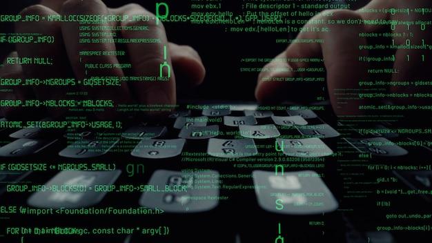 Visual creativa della programmazione del computer, codifica e sviluppo di software