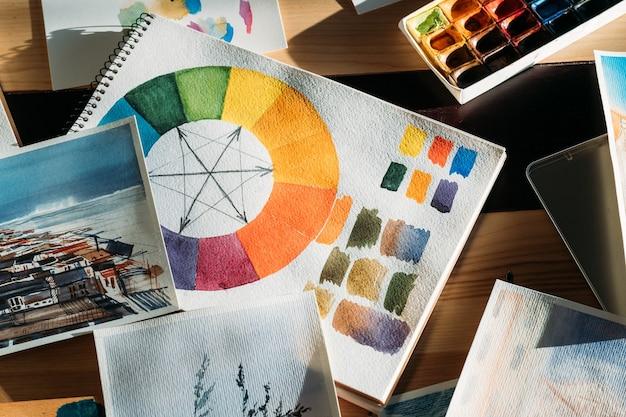 Luogo di lavoro creativo. ispirazione artistica. opere d'arte di pittori e forniture d'arte in giro.