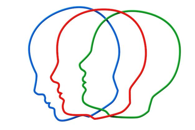 Concetto di creatività. contorni della testa a tre colori su sfondo bianco