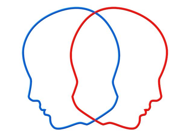 Concetto di creatività. contorni della testa a due colori su sfondo bianco