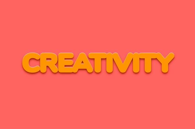 Parola di creatività in stile di testo in grassetto